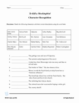 To Kill A Mockingbird Worksheet Fresh to Kill A Mockingbird Kill A Mockingbird and the