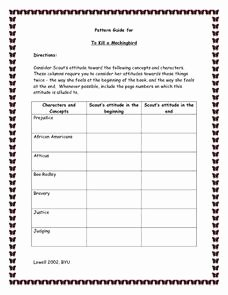 To Kill A Mockingbird Worksheet Inspirational Pattern Guide for to Kill A Mockingbird Worksheet for 8th