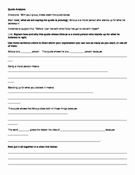 To Kill A Mockingbird Worksheet Inspirational to Kill A Mockingbird Quote Analysis Worksheets by Lit
