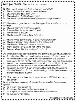 To Kill A Mockingbird Worksheet Luxury Harper Lee Biography Reading Prehension Worksheet to