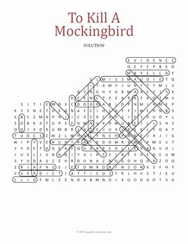 To Kill A Mockingbird Worksheet Luxury to Kill A Mockingbird Word Search Puzzle by Puzzles to