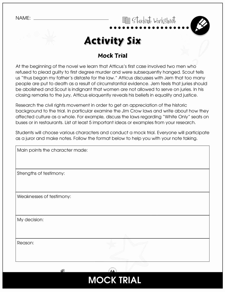 To Kill A Mockingbird Worksheet New to Kill A Mockingbird Bonus Worksheets Grades 9 to 12