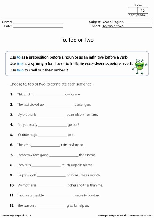 To too Two Worksheet Awesome Choose to too or Two