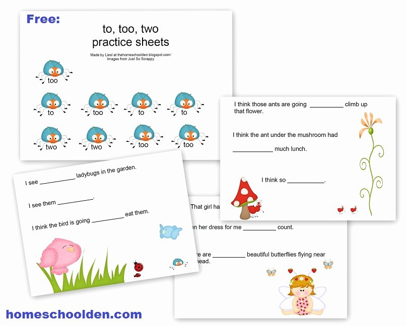 To too Two Worksheet Awesome Free Homophone Practice Worksheet to Two too there they