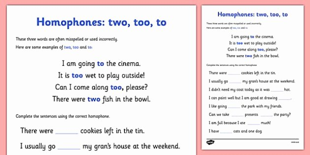 To too Two Worksheet Awesome Homophones to Two too Worksheet Homophones to Two too