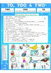 To too Two Worksheet Awesome to too & Two Esl Worksheet by Susiebelle