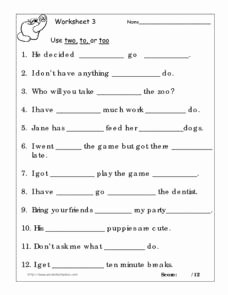 To too Two Worksheet Beautiful Use Two to or too Worksheet 3 Worksheet for 3rd 4th