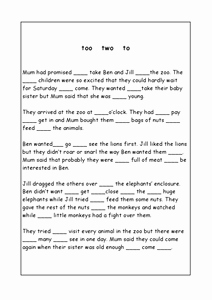 To too Two Worksheet Best Of too Two to Worksheet for 3rd 4th Grade