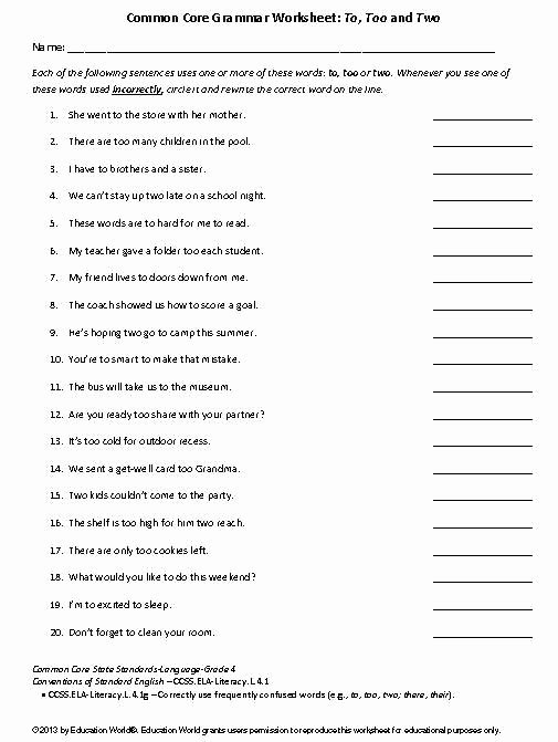 To too Two Worksheet Elegant Coomon Core Grammar Worksheet to too and Two