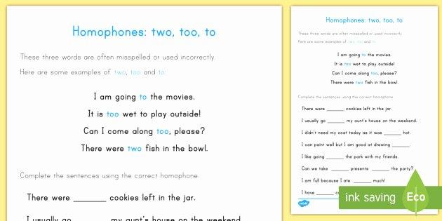 To too Two Worksheet Elegant Homophones to too Two Worksheet Worksheet Homophones
