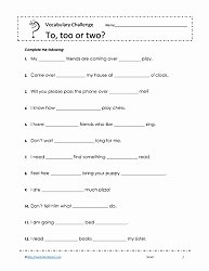 To too Two Worksheet Elegant to too or Two Worksheets Worksheets