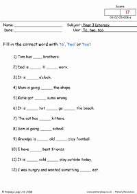 To too Two Worksheet Elegant to Two and too