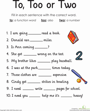 To too Two Worksheet Lovely Homophones to too or Two Worksheet