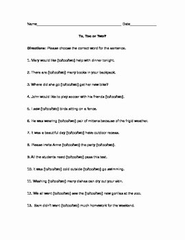 To too Two Worksheet Lovely to too Two Worksheet by A Mind that Blooms