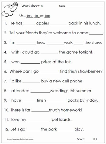 To too Two Worksheet Luxury to too or Two Homophones to too Two