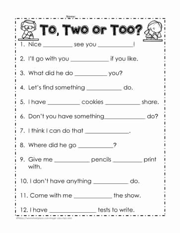 To too Two Worksheet Unique to too or Two Worksheets