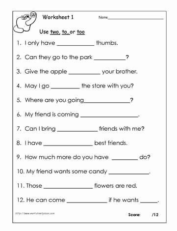 To too Two Worksheet Unique to Two too Grammar