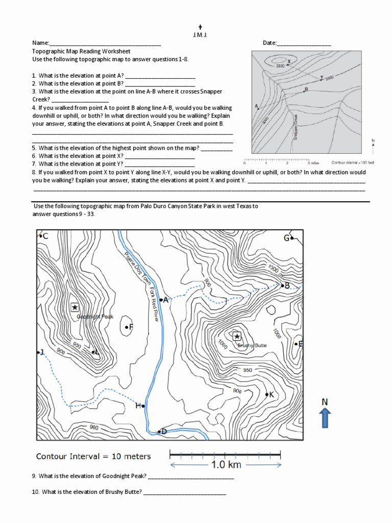 Topographic Map Reading Worksheet Answers Luxury topographic Maps Worksheet