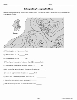 Topographic Map Reading Worksheet Answers New Interpreting topographic Maps Grade 10 Free Printable