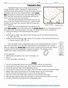 Topographic Map Reading Worksheet Answers New topographic Maps Activity and Worksheet by Becker S