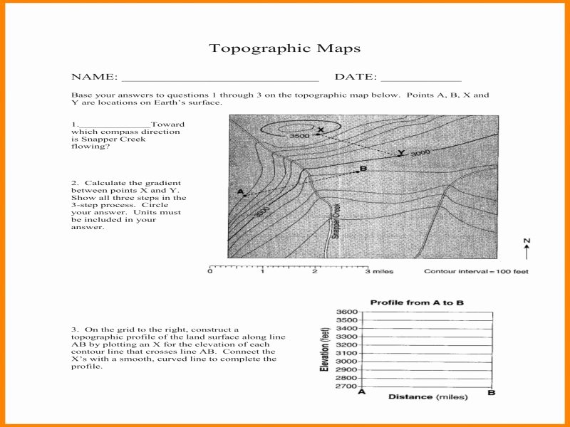 Topographic Map Reading Worksheet Best Of topographic Map Reading Worksheet Free Printable Worksheets