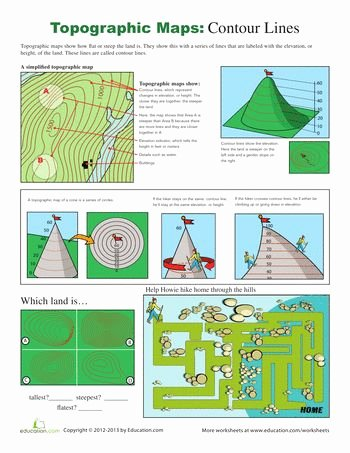 Topographic Map Reading Worksheet Lovely topographic Map Worksheets and Maps On Pinterest