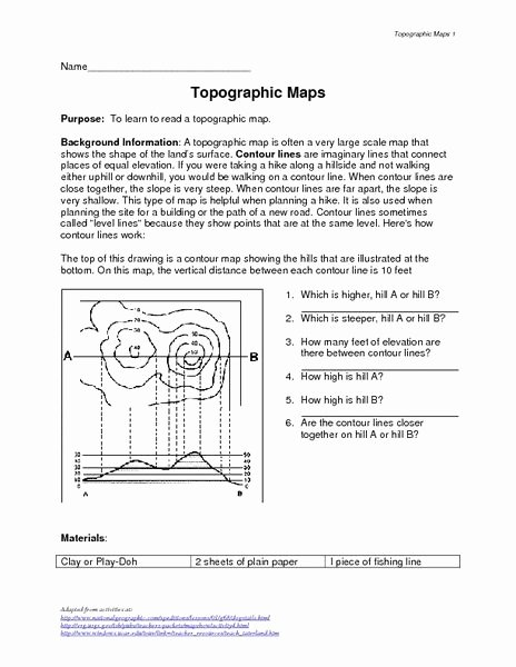 Topographic Map Reading Worksheet Luxury 10 Best Images About topographical Elevation Maps On