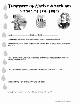 Trail Of Tears Worksheet Lovely 9 3 Trail Of Tears Indian Removal Act Worksheet Activity