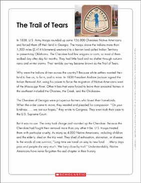 Trail Of Tears Worksheet Luxury the Trail Of Tears Text & organizer