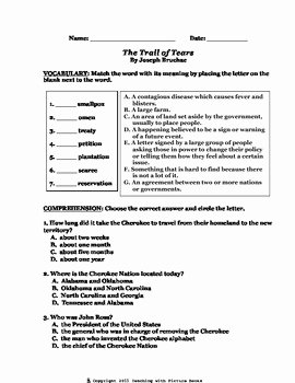 Trail Of Tears Worksheet New the Trail Of Tears Joseph Bruchac Ccg by Teaching with