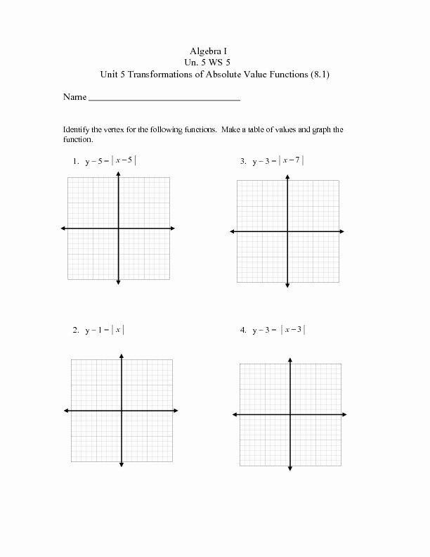 Transformations Of Functions Worksheet Answers Unique Unit 5 Ws 5 Transformations Of Absolute Value Functions