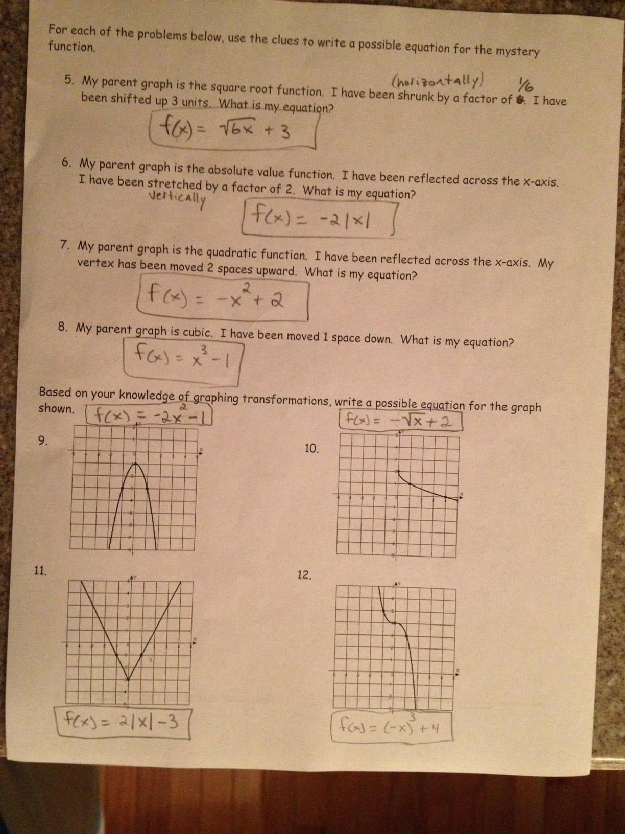 Transformations Of Functions Worksheet Awesome Pfeil Jason Pre Calculus 1st Semester Daily