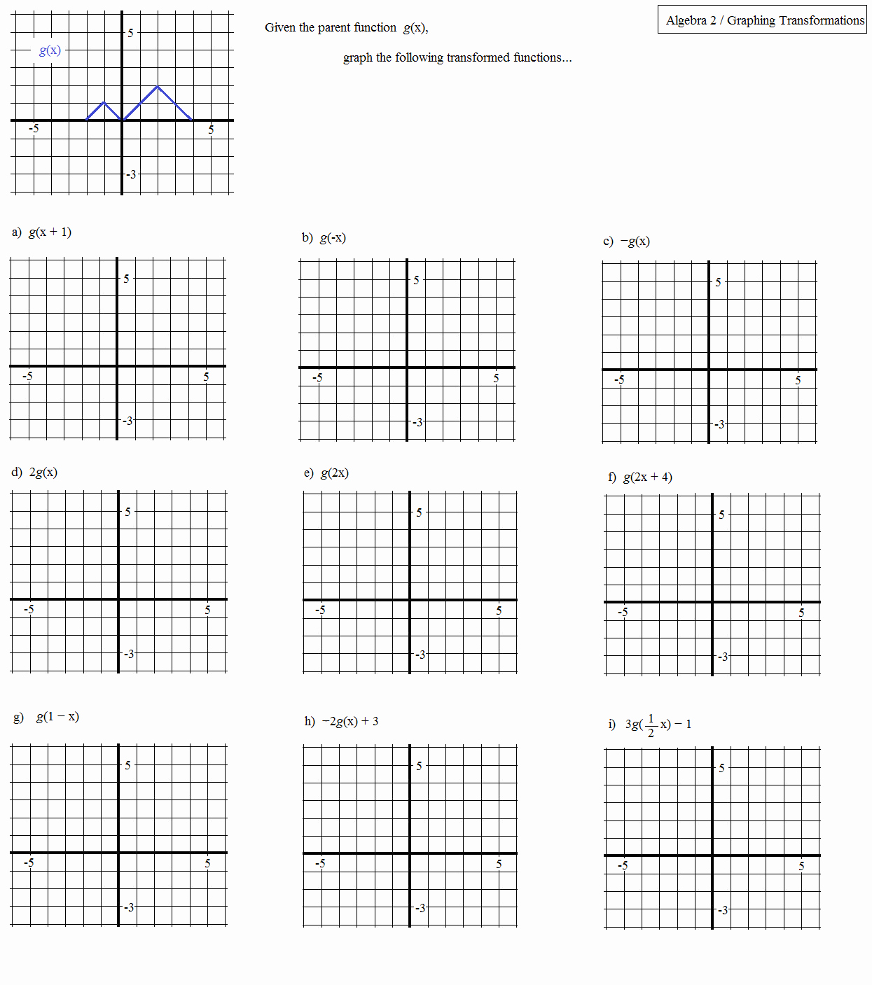Transformations Of Graphs Worksheet Awesome Math Plane Graphing Iii Identifying Functions