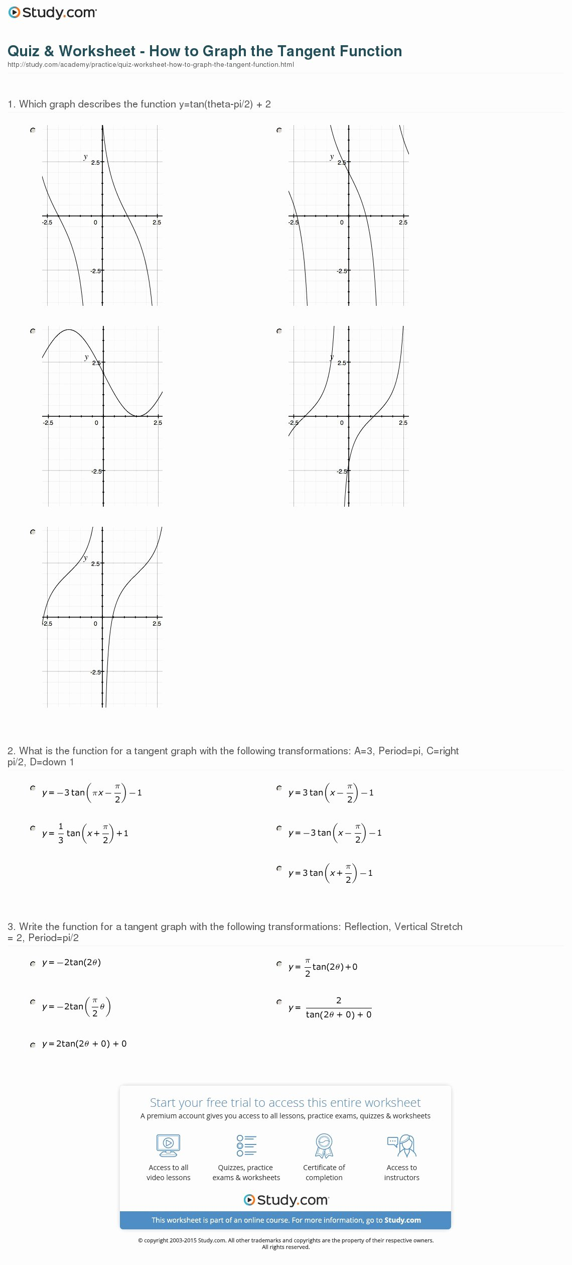 Transformations Of Graphs Worksheet Beautiful Quiz & Worksheet How to Graph the Tangent Function