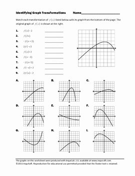 Transformations Of Graphs Worksheet Elegant Identifying Graph Transformations by Inquisoft