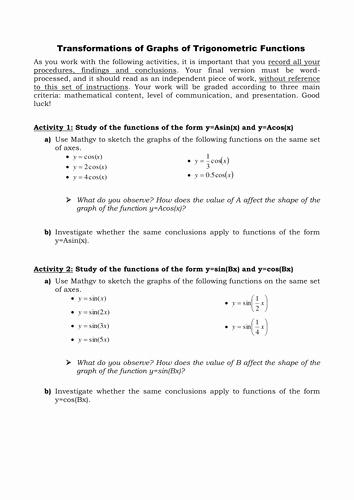 Transformations Of Graphs Worksheet Fresh Transformations Of Trigonometric Graphs Worksheet by