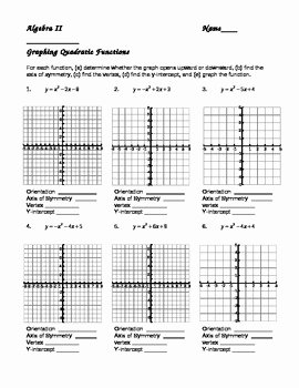 Transformations Of Quadratic Functions Worksheet Lovely Graphing Quadratic Functions In Vertex form Worksheet the