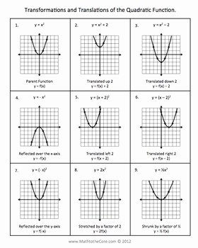 Transformations Of Quadratic Functions Worksheet Unique Quadratic Parabola Function Graph Transformations Notes