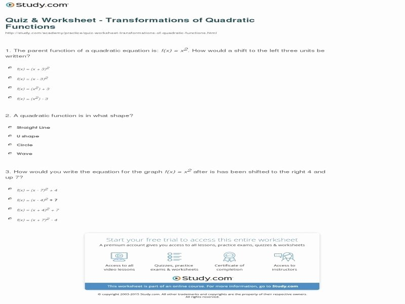 Transformations Of Quadratic Functions Worksheet Unique Transformations Quadratic Functions Worksheet Free