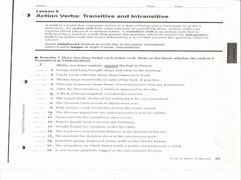 Transitive and Intransitive Verb Worksheet Awesome Transitive and Intransitive Verbs Worksheet