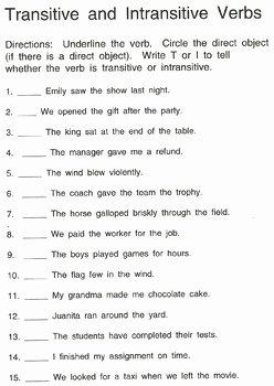 Transitive and Intransitive Verb Worksheet Beautiful Intransitive and Transitive Verbs by Dana Bs