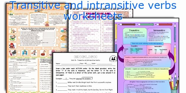 Transitive and Intransitive Verb Worksheet Inspirational English Teaching Worksheets Transitive and Intransitive Verbs