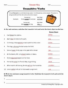 Transitive and Intransitive Verb Worksheet New English Grammar Transitive and Intransitive Verbs