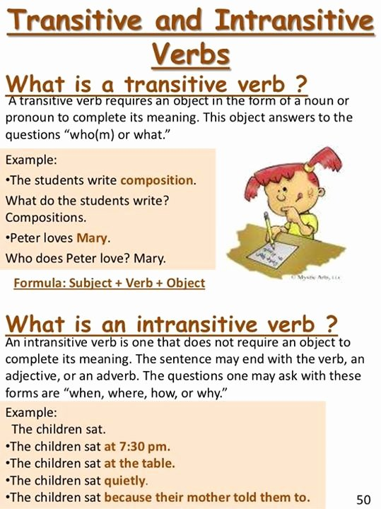 Transitive and Intransitive Verb Worksheet New Verb Tenses