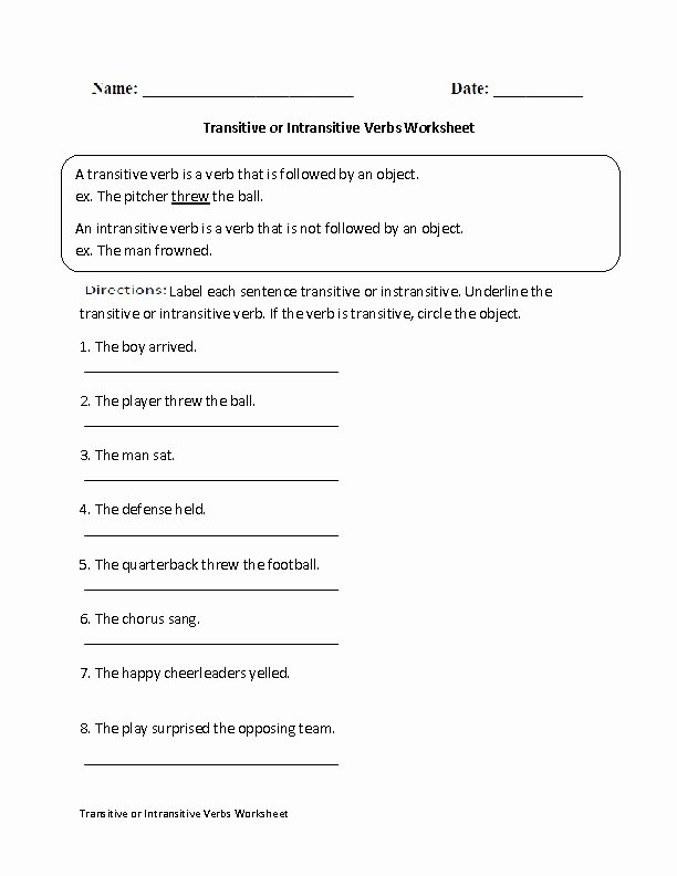 Transitive and Intransitive Verbs Worksheet Awesome Transitive and Intransitive Verbs Worksheet