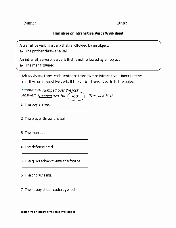 Transitive and Intransitive Verbs Worksheet Awesome Transitive or Intransitive Action Verbs Worksheet