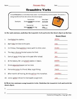 Transitive and Intransitive Verbs Worksheet Beautiful Transitive Verbs Practice Page A Grammar Esie Upper