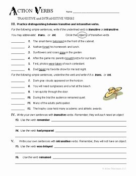 Transitive and Intransitive Verbs Worksheet Fresh Transitive and Intransitive Verbs No Prep Grammar Unit by