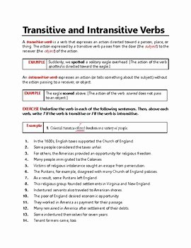 Transitive and Intransitive Verbs Worksheet Lovely Transitive and Intransitive Verbs Action