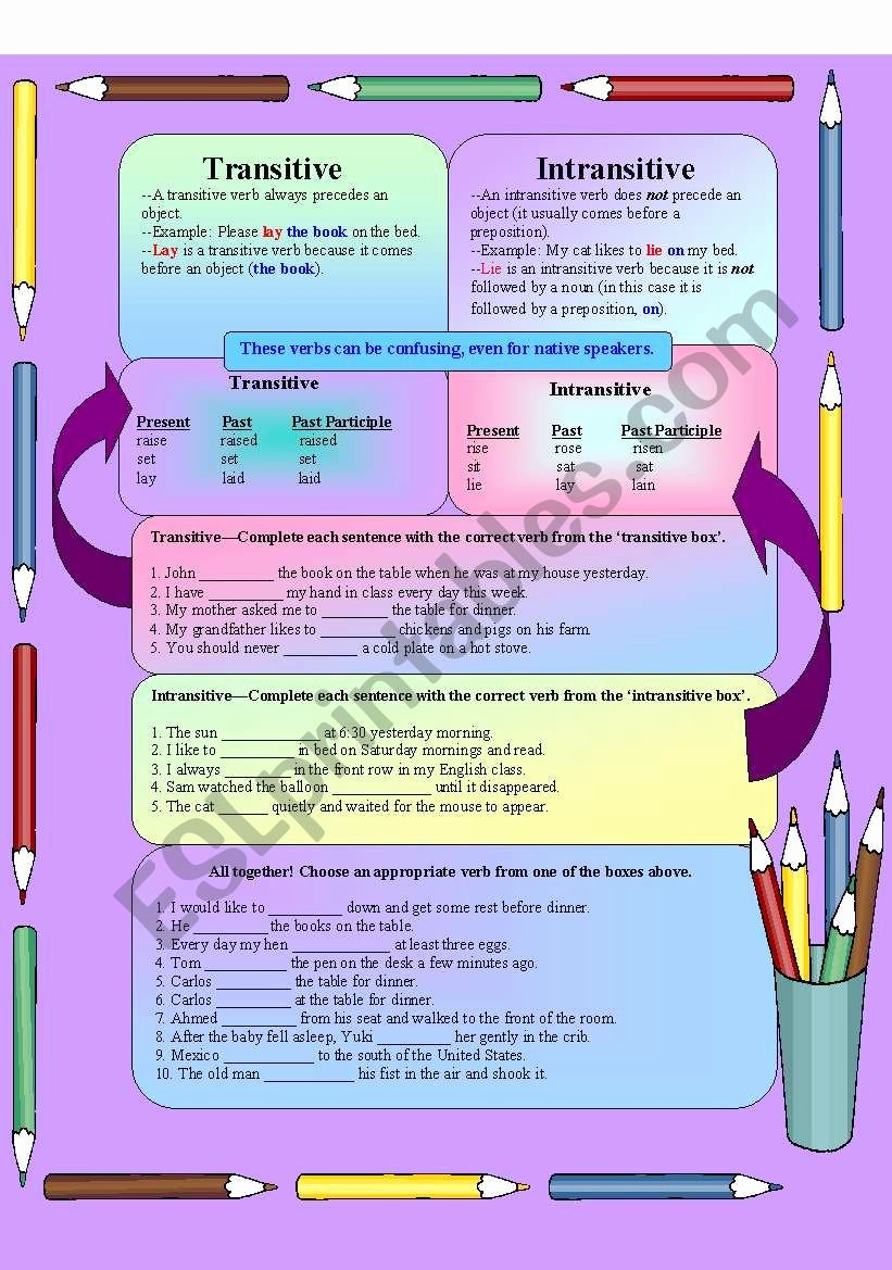 Transitive and Intransitive Verbs Worksheet New Transitive Intransitive Verbs Esl Worksheet by Jesica